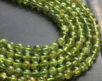 "6mm Peridot Round Smooth Spring Green Gemstone Beads 16"" Strand"