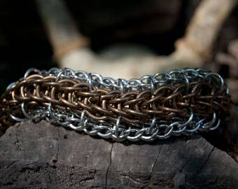 """Bronze and aluminum """"Draugir's Spine"""" chainmaille bracelet"""