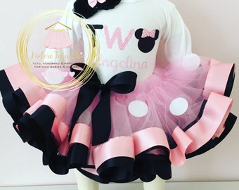 Minnie mouse birthday outfit - TWO - 2nd birthday Minnie mouse outfit - Minnie mouse birthday theme - pink minnie mouse outfit