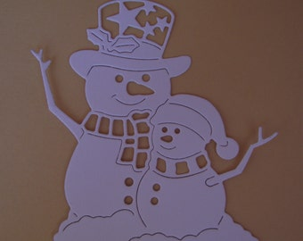 6 Cut paper snowmen ,snowmen,Frosty ,Tattered Lace, Scrapboock elements