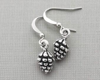Pinecone Charm Earrings, Pinecone, Petite Jewelry, Nature Earrings, Tree Earrings, Christmas Jewelry, Christmas Tree, Pine Cone, Nature