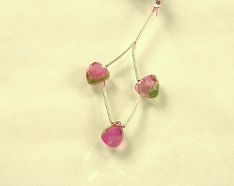 Watermelon tourmaline slice beads 9-10mm 7.3ct 3 pieces