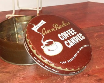 Vintage coffee candy tin.