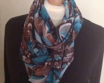 Turquoise blue and brown chiffon infinity scarf..