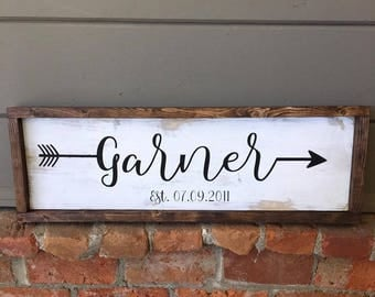 Last Name Wood Sign With Frame | Last Name Sign | Rustic Wood Sign | Engagement Gift | Wedding Gift | Farmhouse Style Wood Sign |