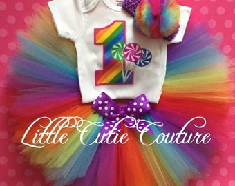 Candyland Tutu Outfit, Cake Smash, Candy Party, 1st Birthday Tutu Outfit, Carnival Party