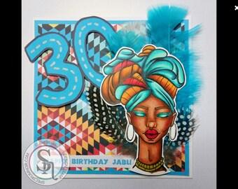 Digital stamp colouring image - Kainda Hunter's Daughter . jpeg / png