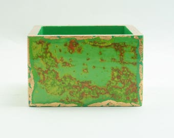 Handmade Paper Clip Holder/ Desk Organizer/ Office Accessory/ Pin Tray - Green Yellow & Gold Leaf