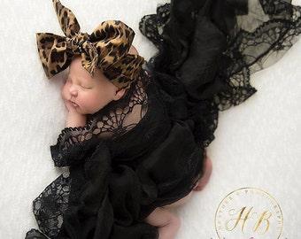 LULU LEOPARD Gorgeous Wrap- headwrap; fabric head wrap; leopard head wrap; boho; newborn headband; baby headband; toddler headband
