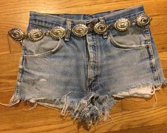Vintage western concho chain belt/Cowgirl/ONE SIZE
