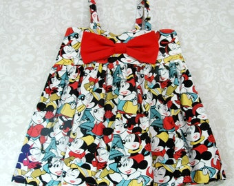 Minnie Mouse Face - Girls Dress - Toddler Dress - Baby Dress - Girls Top - Toddler Top - Baby Top - Hattie Bow Dress