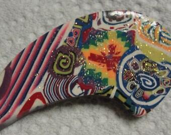 Groovy Polymer Clay Brooch
