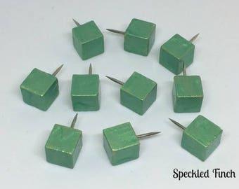 Square Wood Push Pins/Thumb Tacks for Cork Board in Green