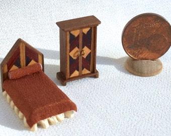 Fantastic miniature furniture inlaid wood, 1/120 scale babyhouse, ooak