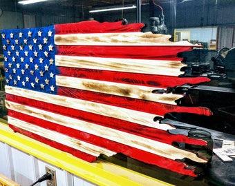 Wood carved battle flag