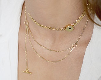 Double chain Gold necklace, asymmetrical necklace, dainty necklace gold, everyday necklace, gift for her mother