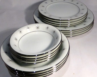 Zylstra Fine China dinner set, Celestial pattern, made in Japan – original from the 1960s