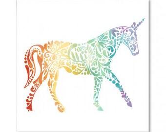 Ornate Unicorn Pattern Greetings Card