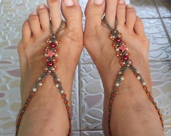 Orange red gray Barefoot Sandals, Beach Sandals