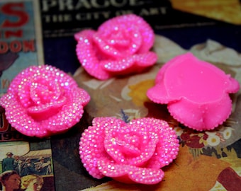 4 pcs Hot Pink Rhinestone Resin Rose Flower Cabochon 32mm for all your DIY needs. K-05