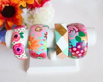 Painted Bangles, Floral Bracelet