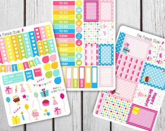 Birthday Weekly Kit Planner Stickers Designed for Erin Condren Life Planner Vertical