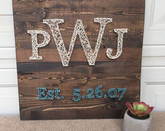 """Family monogram string art sign with established date- made to order 16"""" x 16"""""""