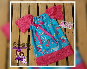 HandMade Baby Girl Peasant Dress/ Poppy Troll Dress/Casual Dress/ Character Dress