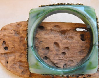 wonderful green marbled plastic square bangle set with metal and rhinestone details