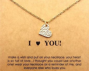 I (HEART) YOU Gold Plated Pendant Necklace