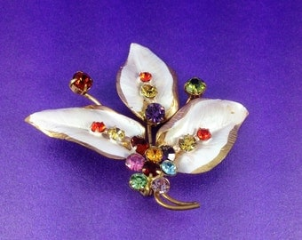 Vintage Multi Coloured Gemstone Brooch, White Lustre Enamel, Austrian Crystal Brooch, Circa 1940, Hand Clawed Paste Gems, Vintage GIft