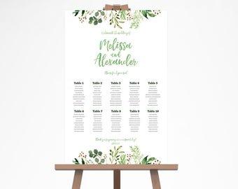 Green Wedding Seating Chart, Greenery Wedding Seating Chart, Rustic Wedding Seating Plan, Rustic Wedding Seating Chart Template GRNR