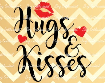 Hugs and Kisses SVG, Valentine Svg, Lips SVG, Heart SVG, Valentine's day svg, Png, Vinyl, Eps, Dxf, Cut Files, Clip Art, Vector, Quote