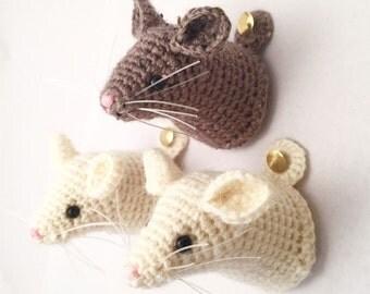 Crochet Mouse Trophy Head (Faux Taxidermy)