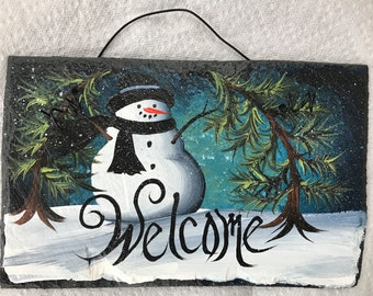 "WINTERY Snowman Teal MISTY SNOW Welcome Personalize Handpainted Slate 6"" x 10""  Hand Painted Hat Plaque"