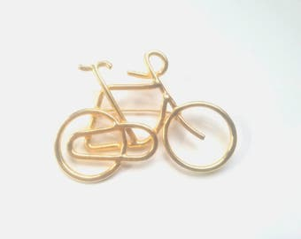 Bright gold vintage wire bicycle brooch pin jewelry for women cyclist