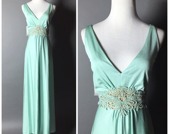 Vintage 60s dress / vintage 70s dress / 1960s dress / 1970s dress / maxi dress / mint green dress / M5140