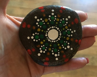Mandala Hand Painted Rock HG903