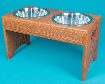 "Elevated Dog Feeder 12"", Two Stainless Steel 2 Quart Bowls, Solid Oak Wood"