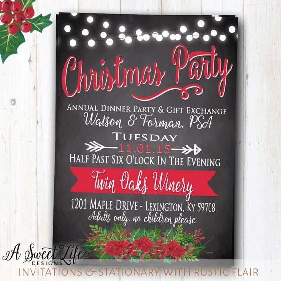 items similar to rustic christmas dinner party invitation - company staff holiday party