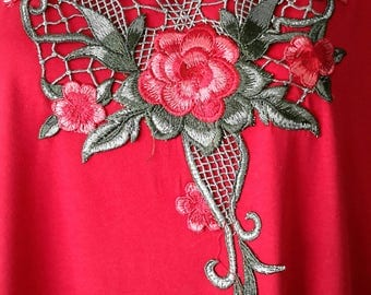 1721 Ladies Red Polyester/Cotton Soft Jersey Knitted Embroidery Long Kaftan/Dress. One Size Fit All:- UK 10-32