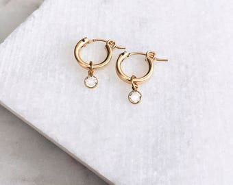 Gold Hoop Earrings, Swarovski Earrings, Dainty Gold Earrings, 14 KT Gold Fill, Stud Earrings, Gold Pendant Earrings