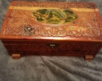 Vintage Sample Cedar Chest with Mirror Prayer Box