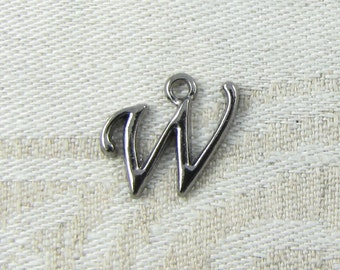 "Gunmetal Script Letter ""W"" Charms, 1 or 5 letters per package  ALF018w-GM"