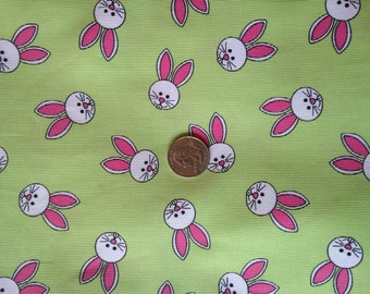 3 Yards Pink and Green 100% Cotton Twill Bunny Fabric
