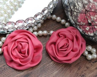 """SET OF TWO - 3"""" Pretty Pink Fabric Rolled Satin Roses Flowers - Elegant - Beautiful - Hair Accessories - Wedding - TheFabFind"""