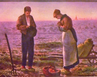 1927 French Farmers Praying Matted Vintage Print