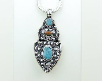 Intricate work of Art! Turquoise Coral Native Tribal Ethnic Vintage Nepal Tibetan Jewelry OXIDIZED Silver Pendant + Chain P3993
