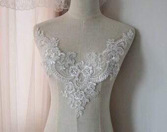Venice ivory Cotton lace Collar Appliques,Floral Emboridered Collar 1 piece(129-219)