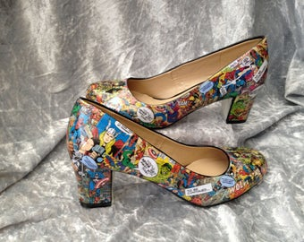 Marvel Shoes - Marvel Comics - Geek Shoes - Cosplay Shoes - Retro Marvel - Decoupage Shoes - Comic Book Shoes - Marvel Cosplay
